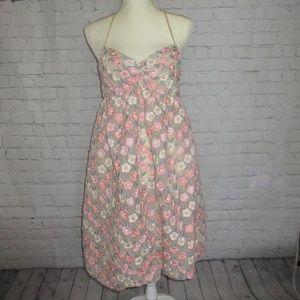 Betsey Johnson Balloon Hem Embossed Floral Dress